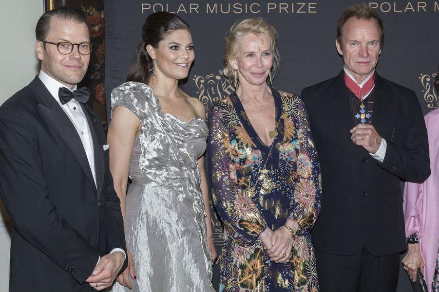 La princesse Victoria de Suède et le prince Daniel avec Sting et sa femmeTrudie Styler à Stockholm, le 15 juin 2017