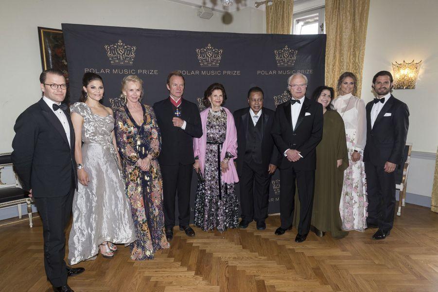 La famille royale de Suède avec Sting et Wayne Shorter à Stockholm, le 15 juin 2017