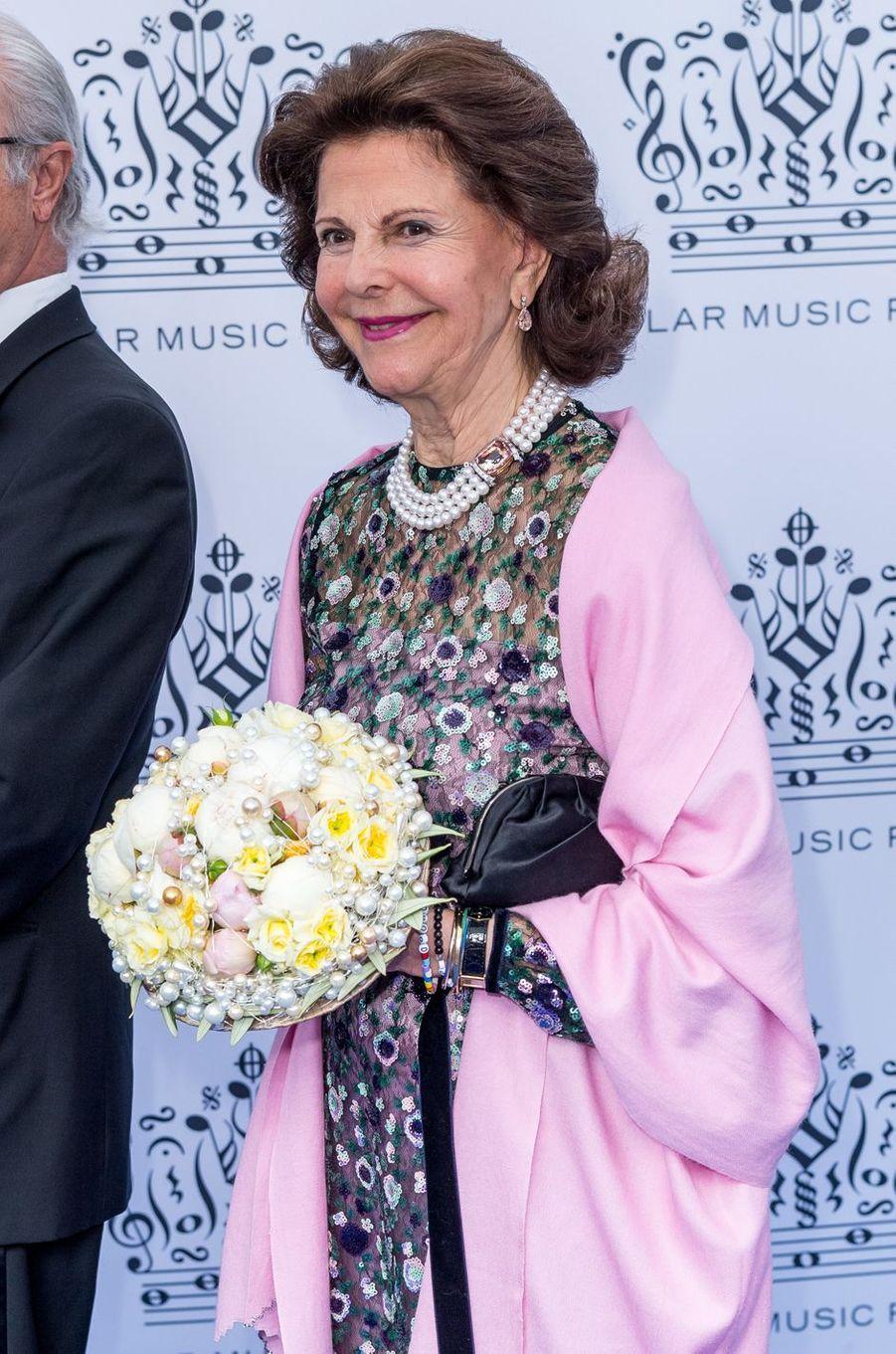 La reine Silvia de Suède à Stockholm, le 15 juin 2017