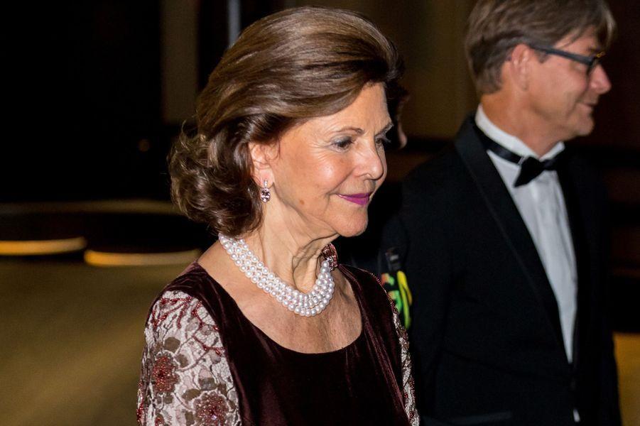 La reine Silvia de Suède à Stockholm, le 14 novembre 2017