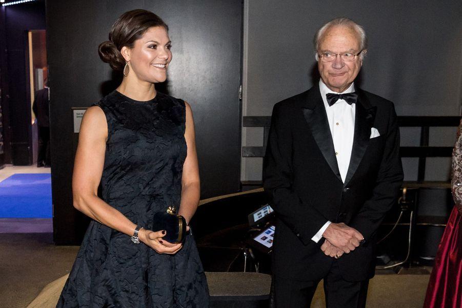 La princesse Victoria et le roi Carl XVI Gustaf de Suède à Stockholm, le 14 novembre 2017