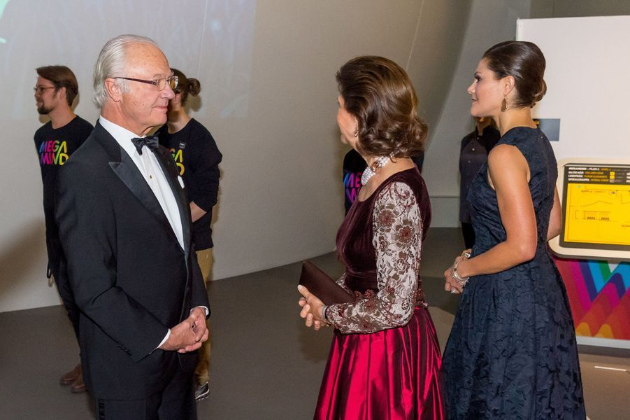 Le roi Carl XVI Gustaf, la reine Silvia et la princesse Victoria de Suède à Stockholm, le 14 novembre 2017