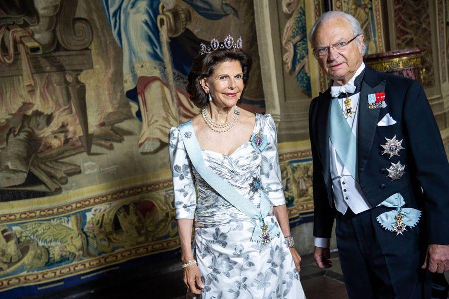 La reine Silvia et le roi Carl XVI Gustaf de Suède à Stockholm, le 31 mai 2018