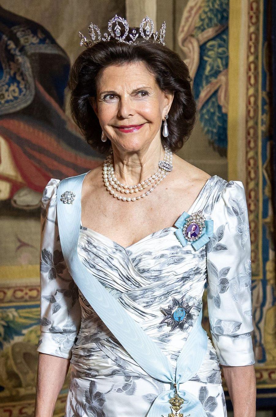 La reine Silvia de Suède à Stockholm, le 31 mai 2018
