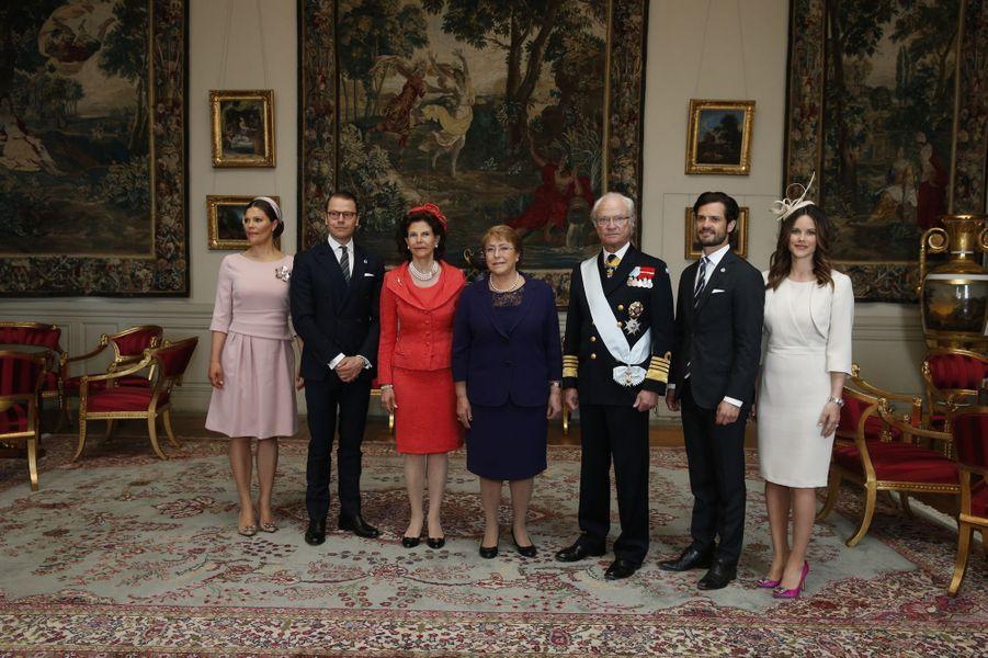 La famille royale de Suède avec Michelle Bachelet à Stockholm, le 10 mai 2016