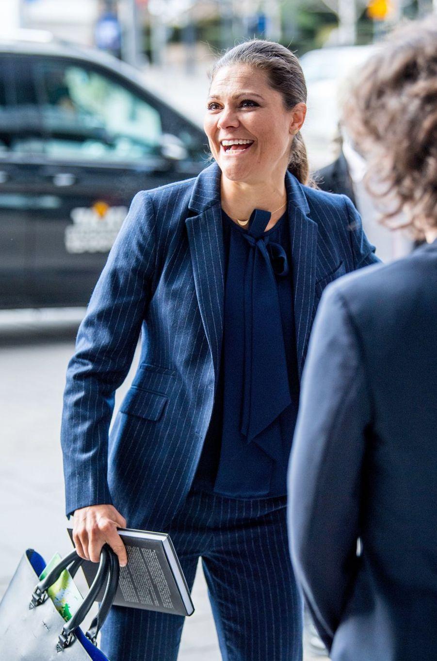 La princesse Victoria de Suède fait sa rentrée à Stockholm, le 6 mars 2017