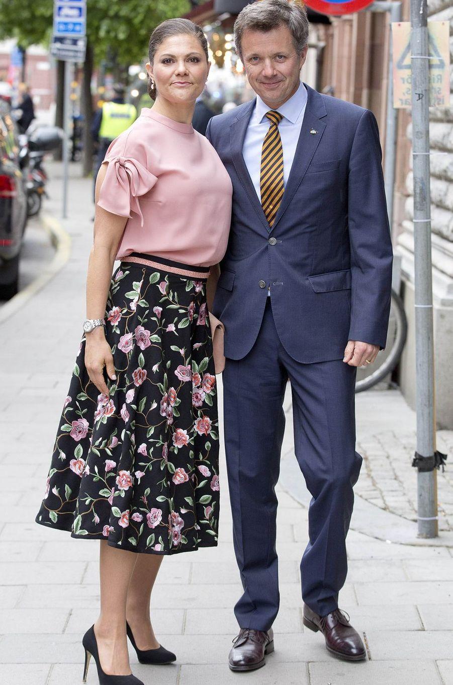 La princesse Victoria de Suède avec le prince Frederik de Danemark à Stockholm, le 30 mai 2017