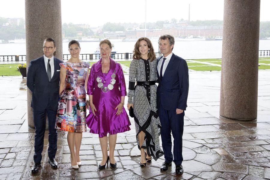 La princesse Victoria et le prince Daniel de Suède avec la princesse Mary et le prince Frederik de Danemark à Stockholm, le 30 mai 2017