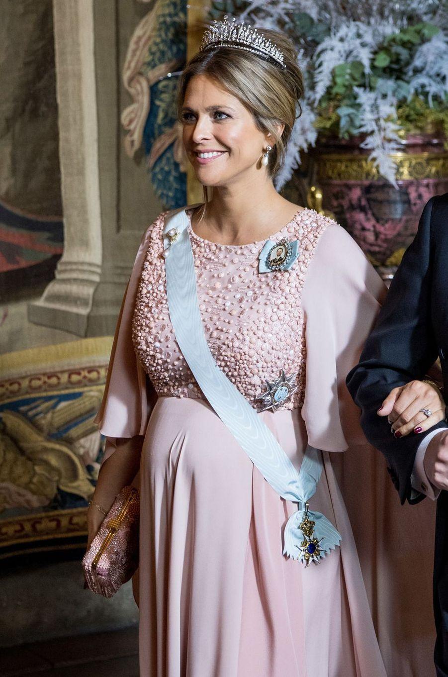 La princesse Madeleine de Suède, enceinte, à Stockholm, le 11 décembre 2017