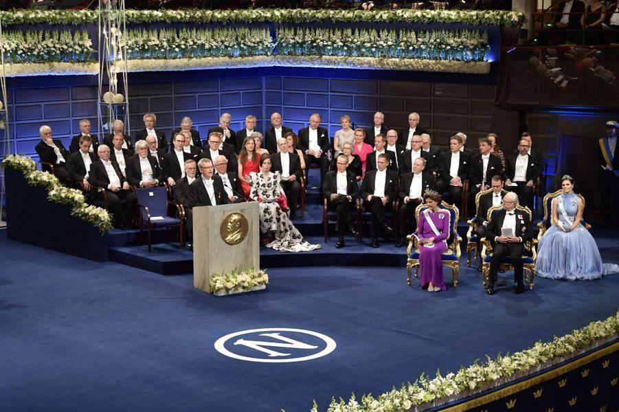 La famille royale de Suède à la cérémonie des Prix Nobel à Stockholm, le 10 décembre 2017