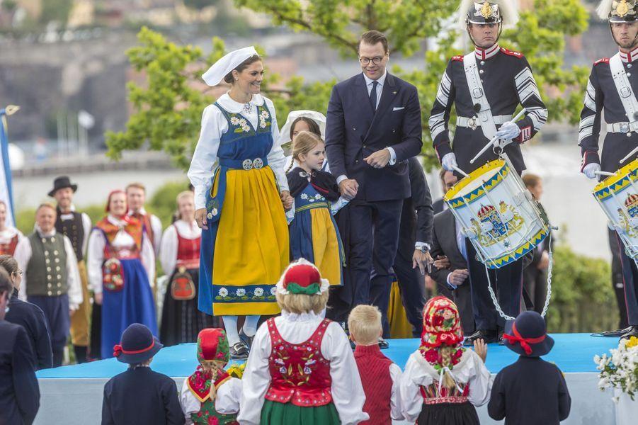 Les princesses Victoria et Estelle et le prince Daniel de Suède à Stockholm, le 6 juin 2018
