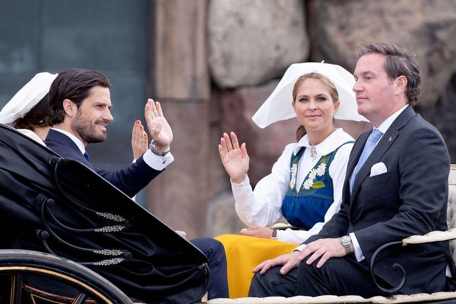Les princesses Madeleine et Sofia, le prince Carl Philip de Suède et Christopher O'Neill à Stockholm, le 6 juin 2018