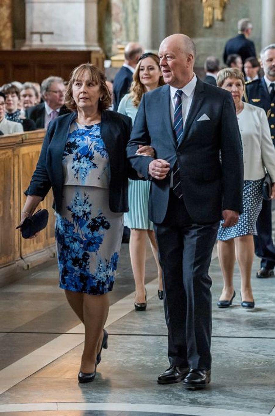 Marie et Erik Hellqvist, les parents de la princesse Sofia de Suède à Stockholm, le 22 avril 2016