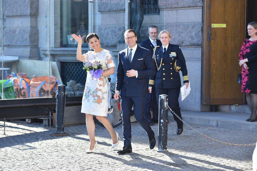 La princesse Victoria de Suède et le prince consort Daniel à Stockholm, le 29 avril 2016