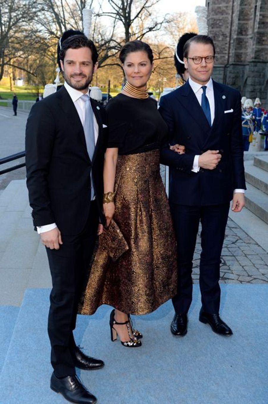 La princesse Victoria et les princes Daniel et Carl Philip de Suède à Stockholm, le 29 avril 2016
