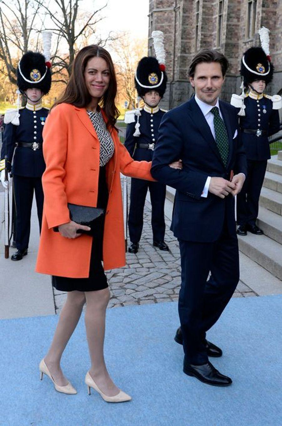 Patrick Sommerlath, neveu de la reine Silvia de Suède, et sa femme Maline à Stockholm, le 29 avril 2016
