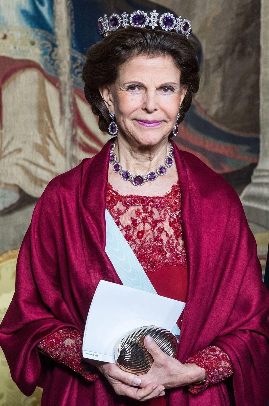 La reine Silvia de Suède à Stockholm, le 23 novembre 2017