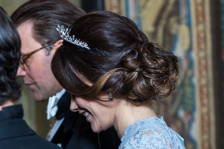 Détail de la coiffure de la princesse Sofia de Suède à Stockholm, le 23 novembre 2017