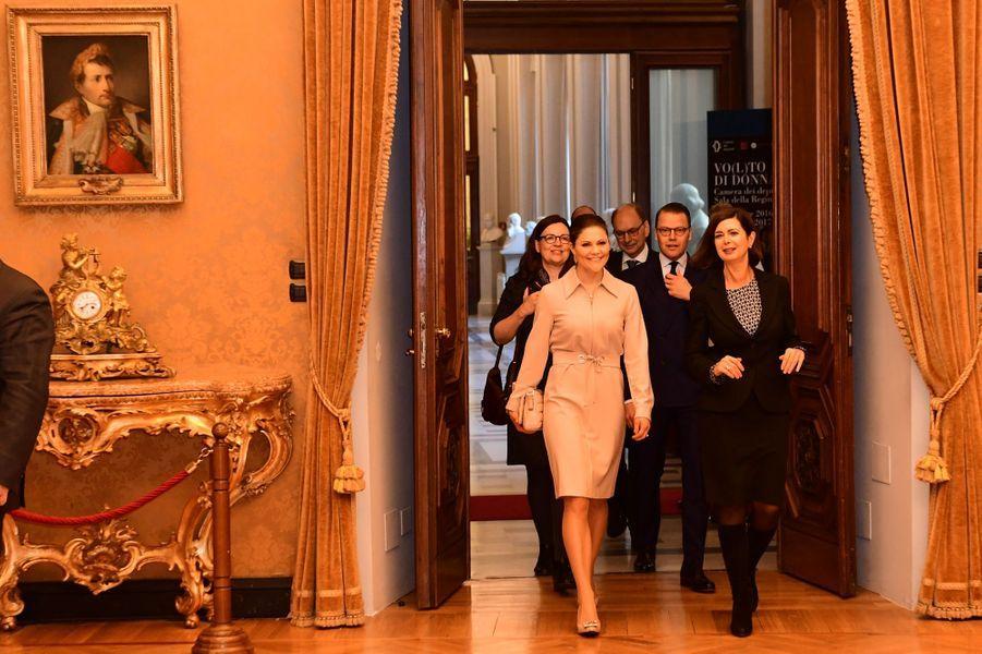 La princesse Victoria et le prince Daniel de Suède débutent leur visite à Rome, le 15 décembre 2016
