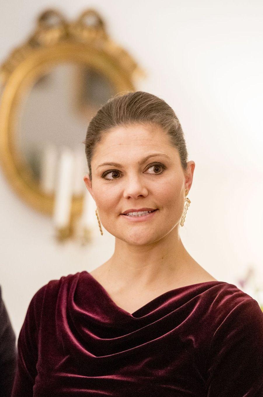 La princesse Victoria de Suède à l'ambassade de Suède à Rome, le 15 décembre 2016