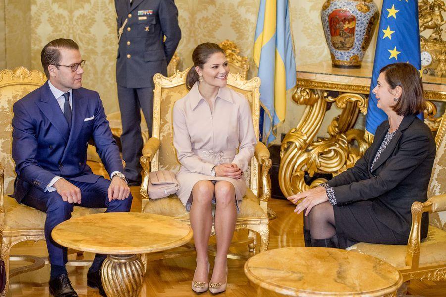 La princesse Victoria de Suède et le prince consort Daniel avec Laura Boldrini, à Rome le 15 décembre 2016