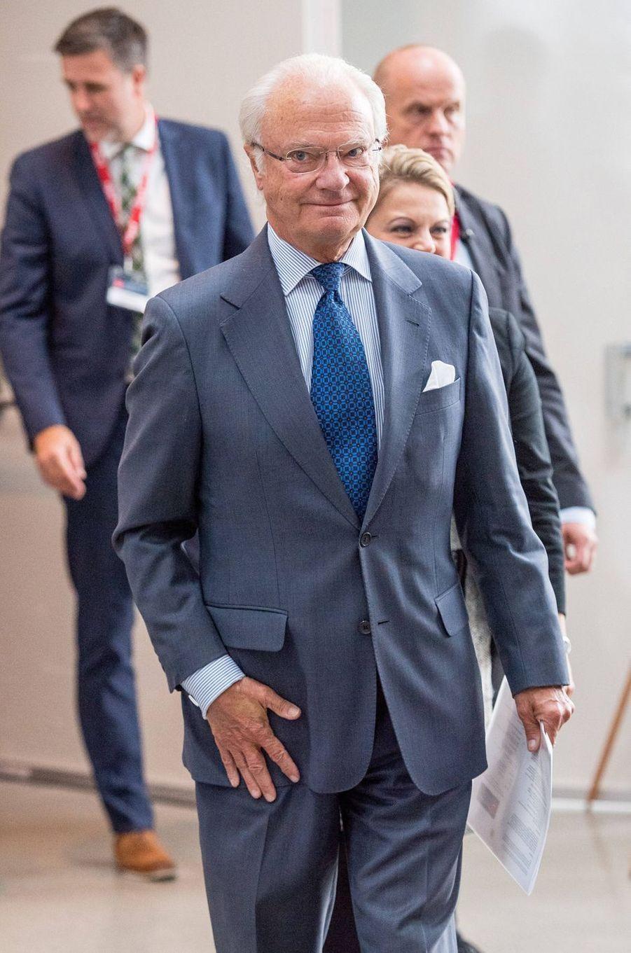 Le roi Carl XVI Gustaf de Suède à Gustavsberg, le 14 septembre 2017