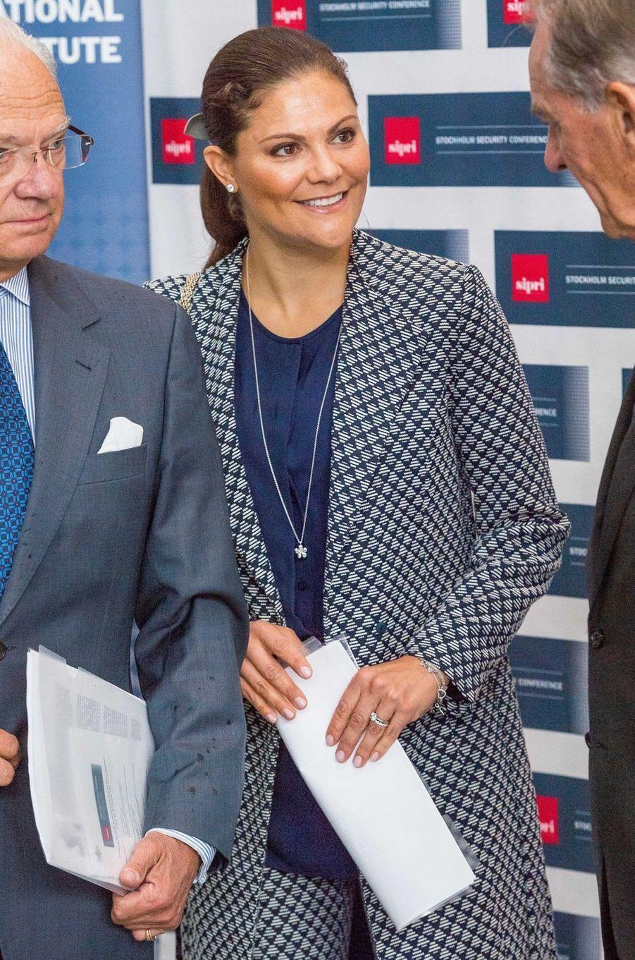 La princesse Victoria de Suède et le prince Carl XVI Gustaf à Gustavsberg, le 14 septembre 2017