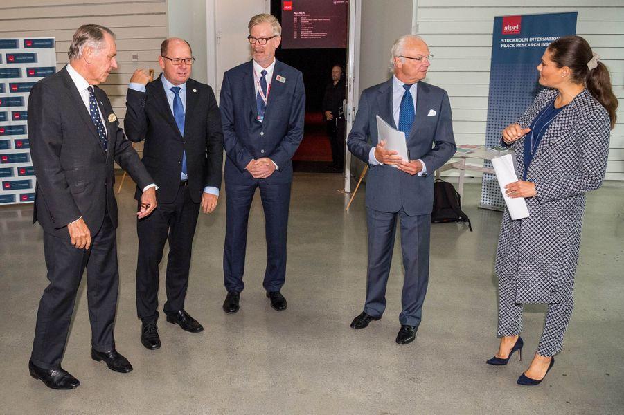 La princesse Victoria et le prince Carl XVI Gustaf de Suède à Gustavsberg, le 14 septembre 2017