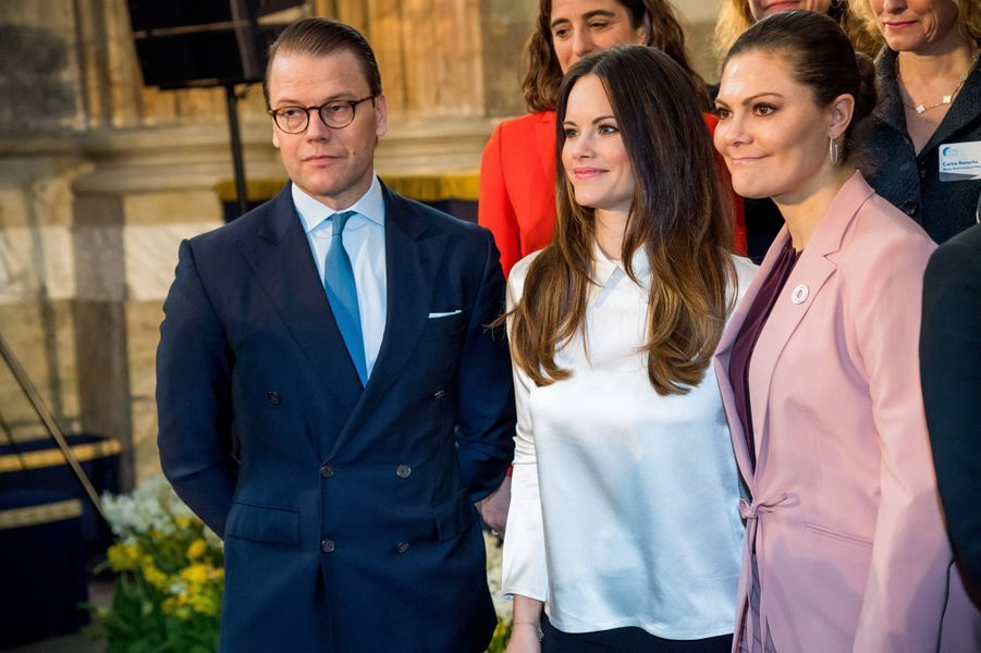 Les princesses Sofia et Victoria de Suède et le prince consort Daniel à Stockholm, le 11 avril 2018