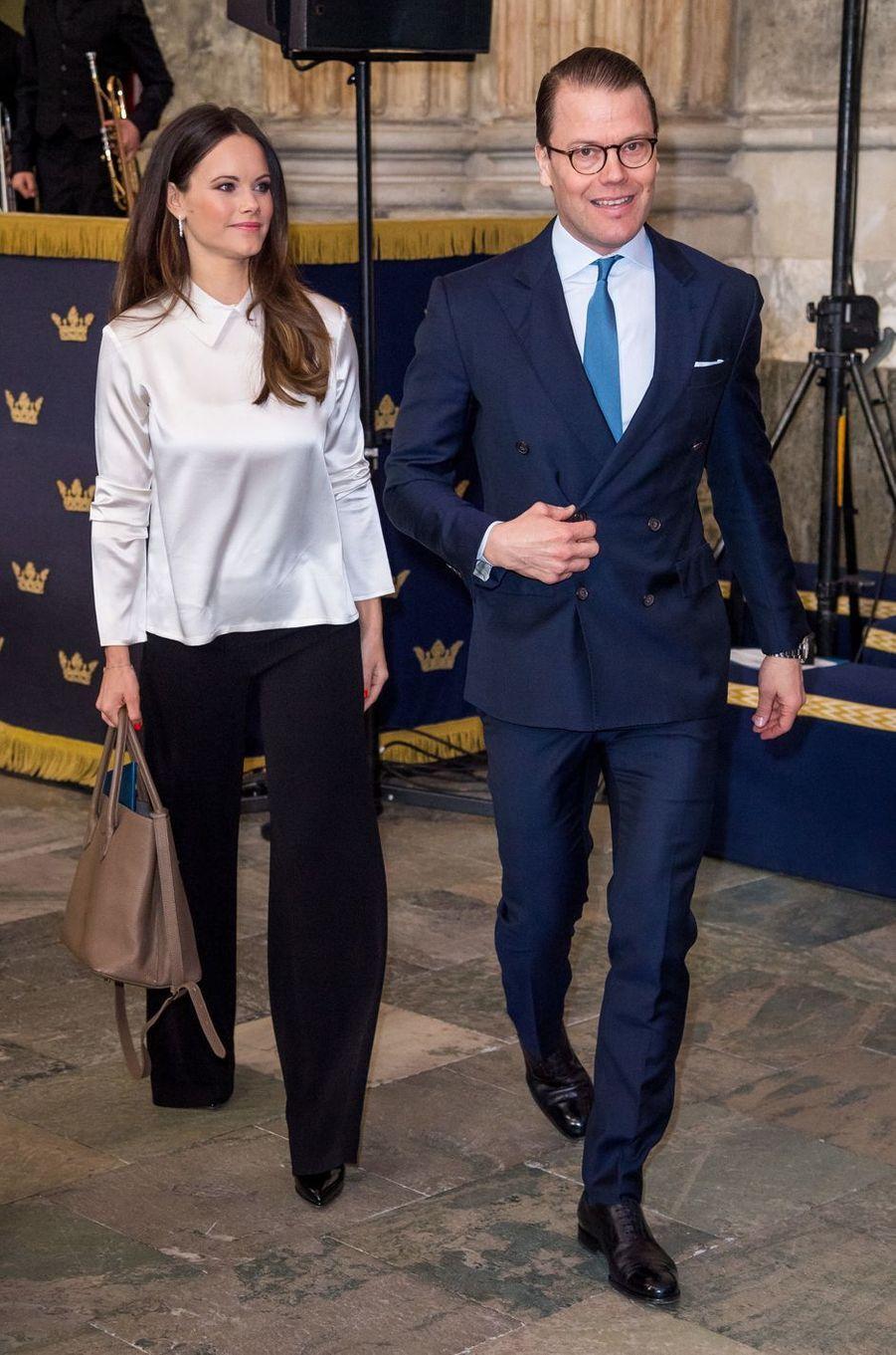La princesse Sofia et le prince Daniel de Suède à Stockholm, le 11 avril 2018