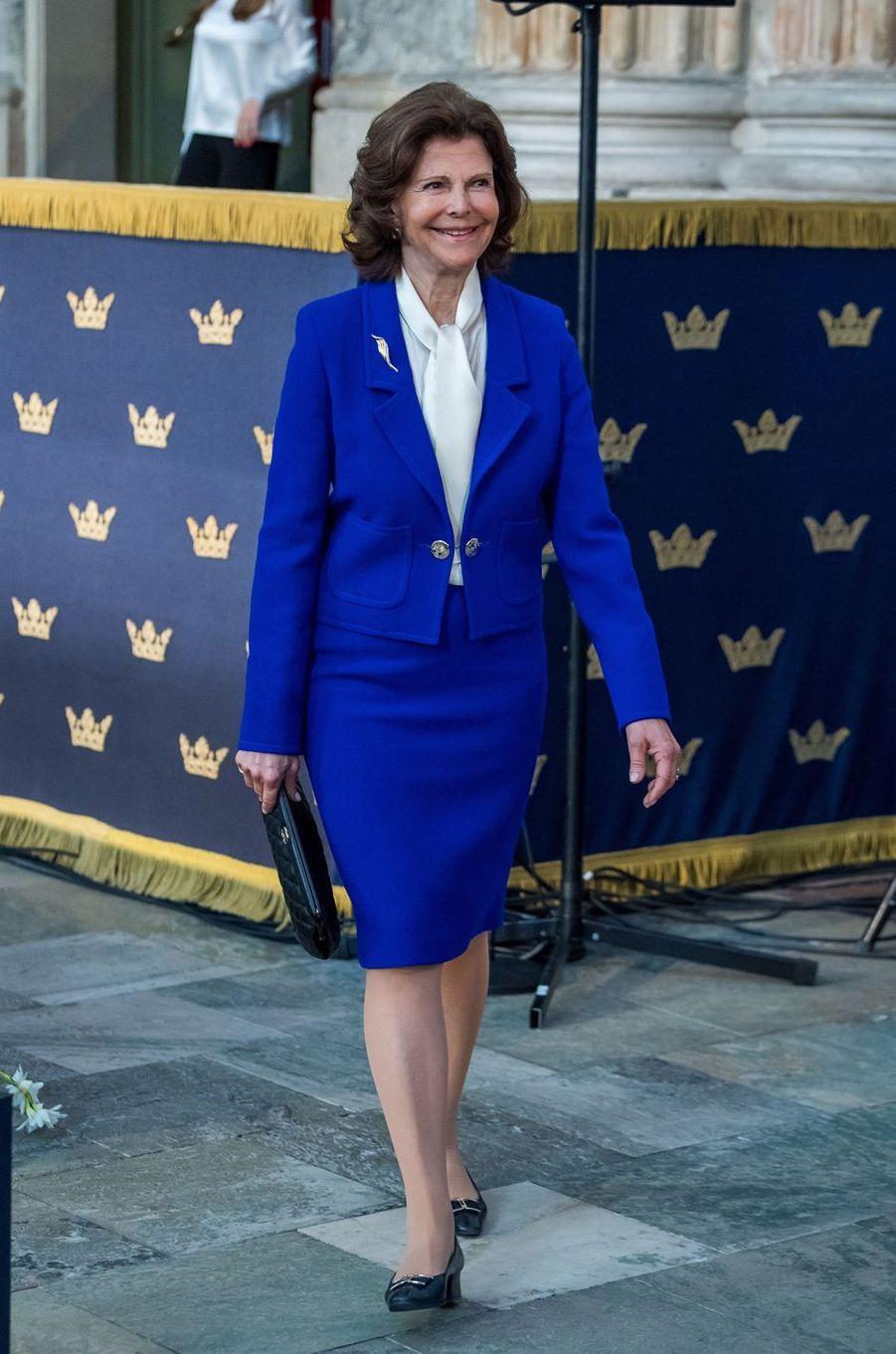 La reine Silvia de Suède à Stockholm, le 11 avril 2018