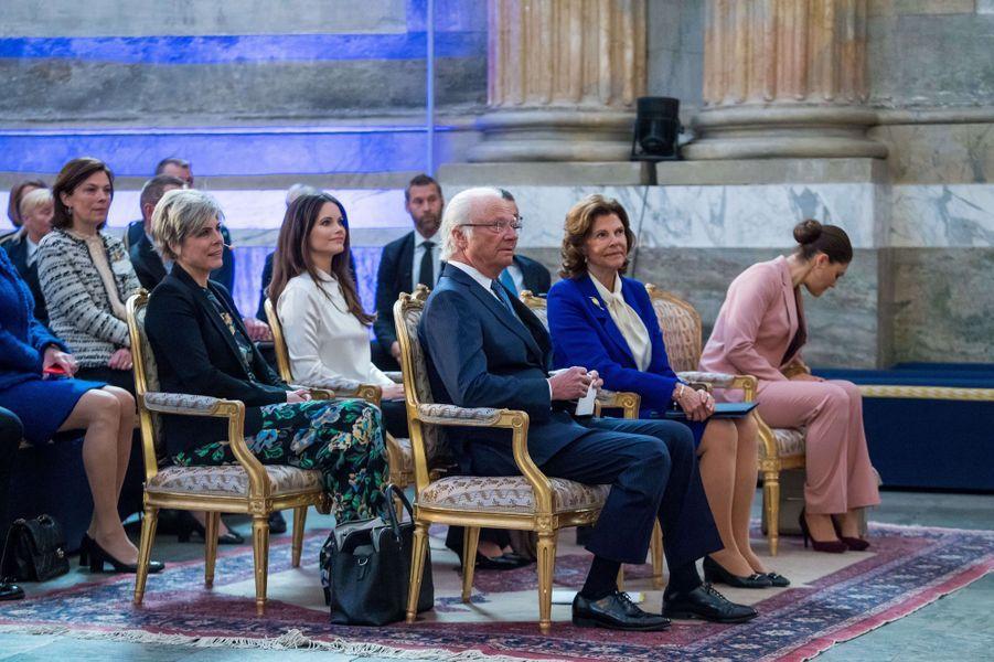 La famille royale de Suède et la princesse Laurentien des Pays-Bas à Stockholm, le 11 avril 2018
