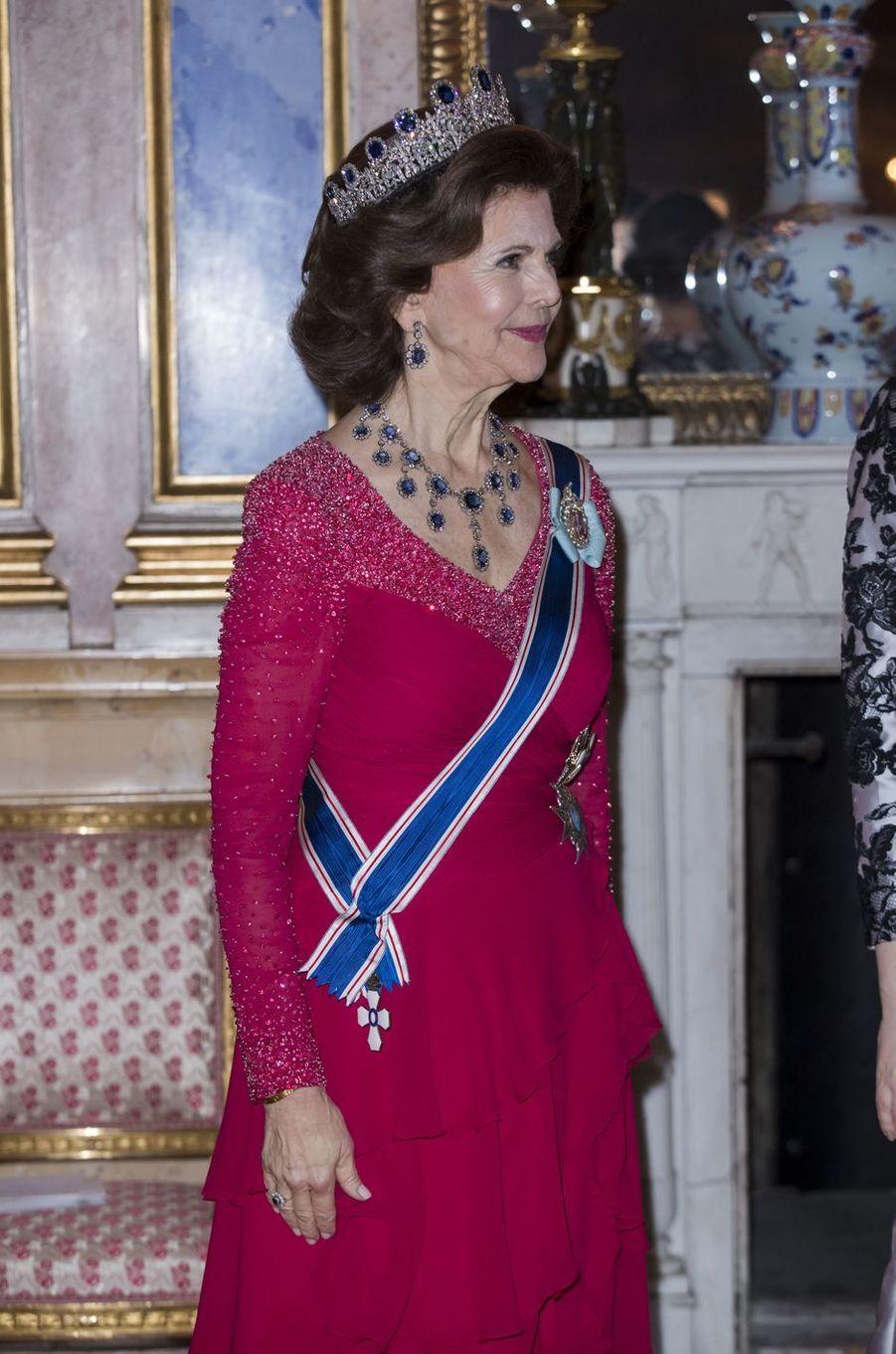 La reine Silvia de Suède à Stockholm, le 17 janvier 2018