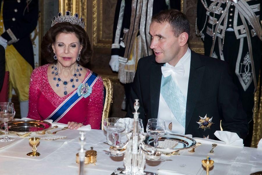 La reine Silvia de Suède et le président d'Islande à Stockholm, le 17 janvier 2018