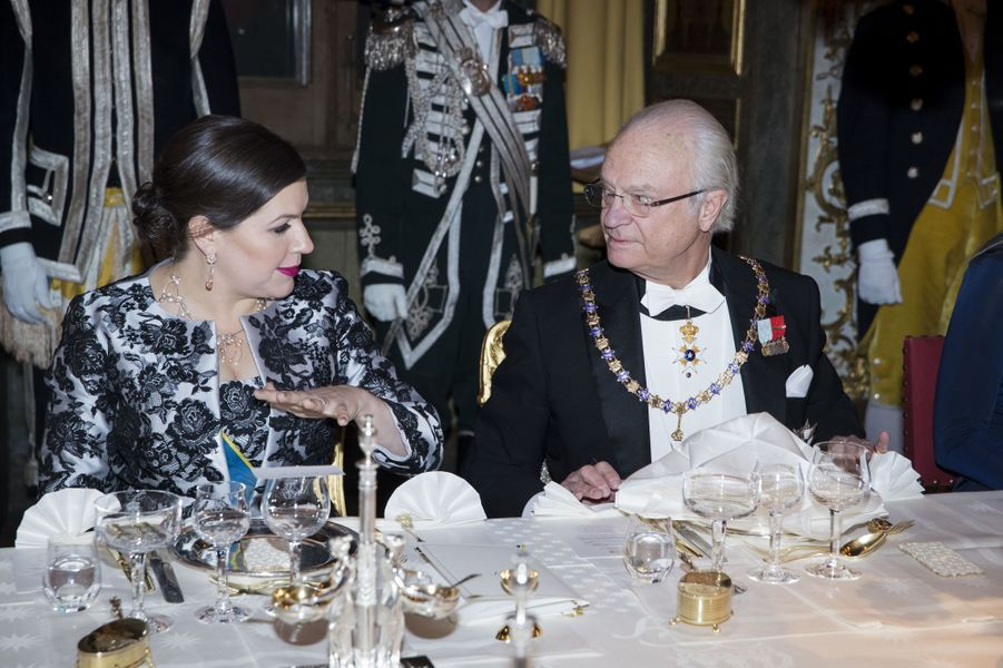 Le roi Carl XVI Gustaf de Suède avec la Première dame d'Islande à Stockholm, le 17 janvier 2018