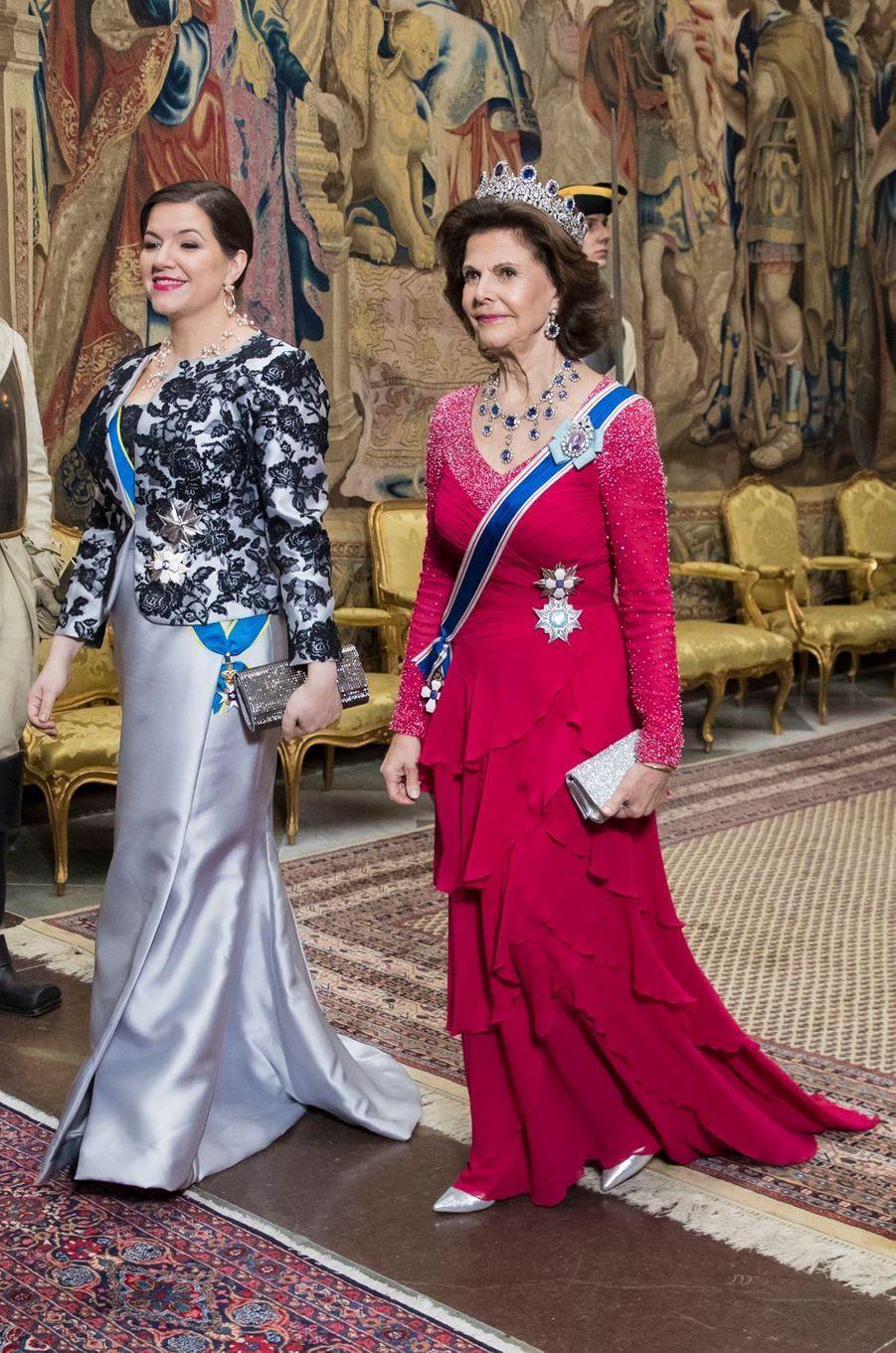 La reine Silvia de Suède avec la First Lady islandaise à Stockholm, le 17 janvier 2018