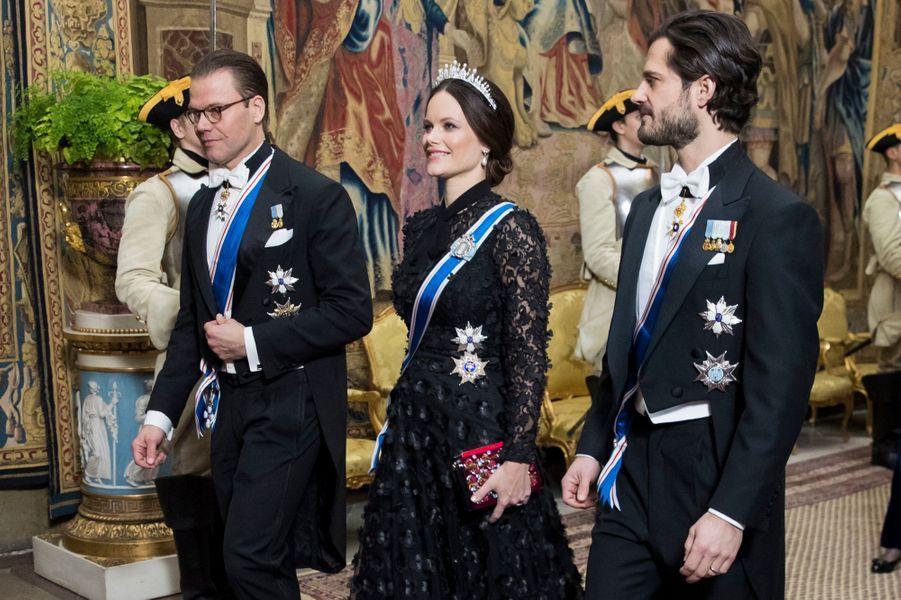 La princesse Sofia de Suède avec les princes Daniel et Carl Philip à Stockholm, le 17 janvier 2018
