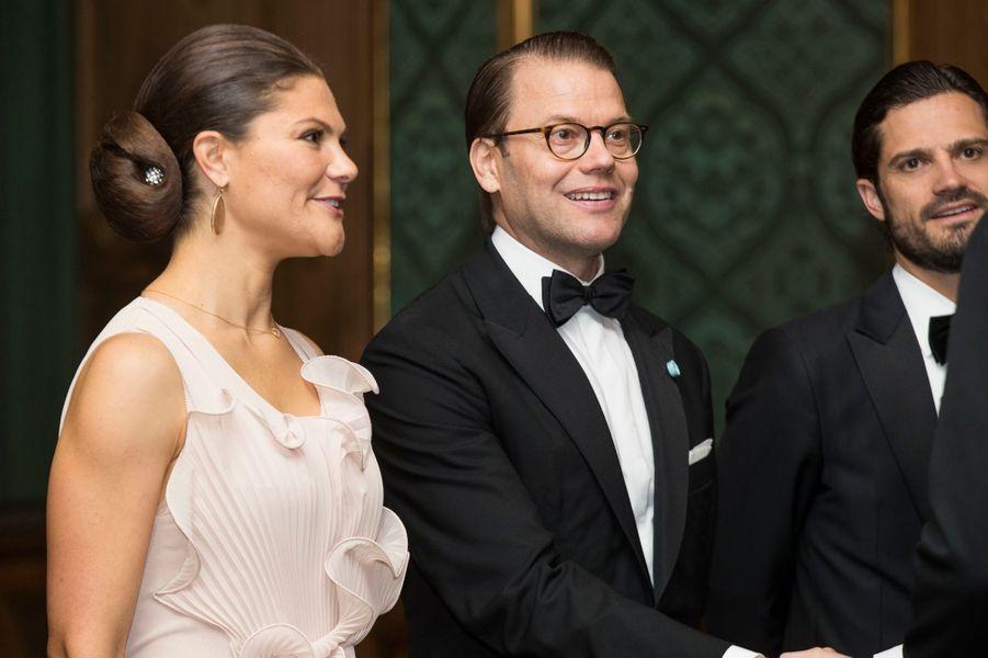 La princesse Victoria de Suède avec les princes Daniel et Carl Philip, à Stockholm le 22 septembre 2017