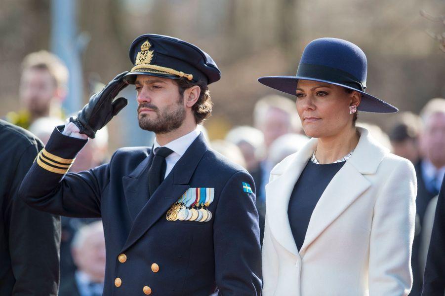 La princesse Victoria et le prince Carl Philip de Suède à Stockholm, le 13 mars 2017
