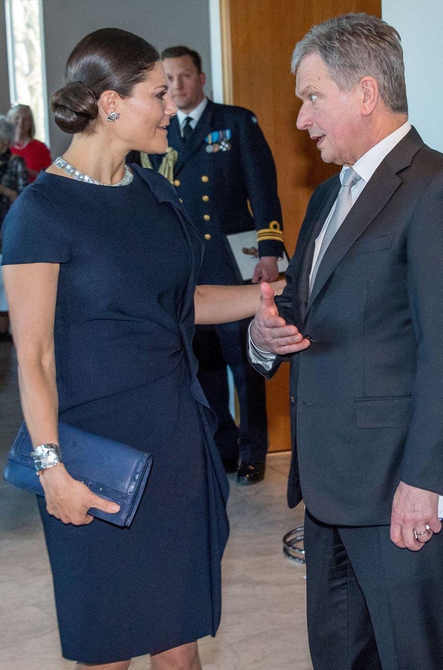La princesse Victoria de Suède avec le président finlandais Sauli Niinistö à Stockholm, le 13 mars 2017