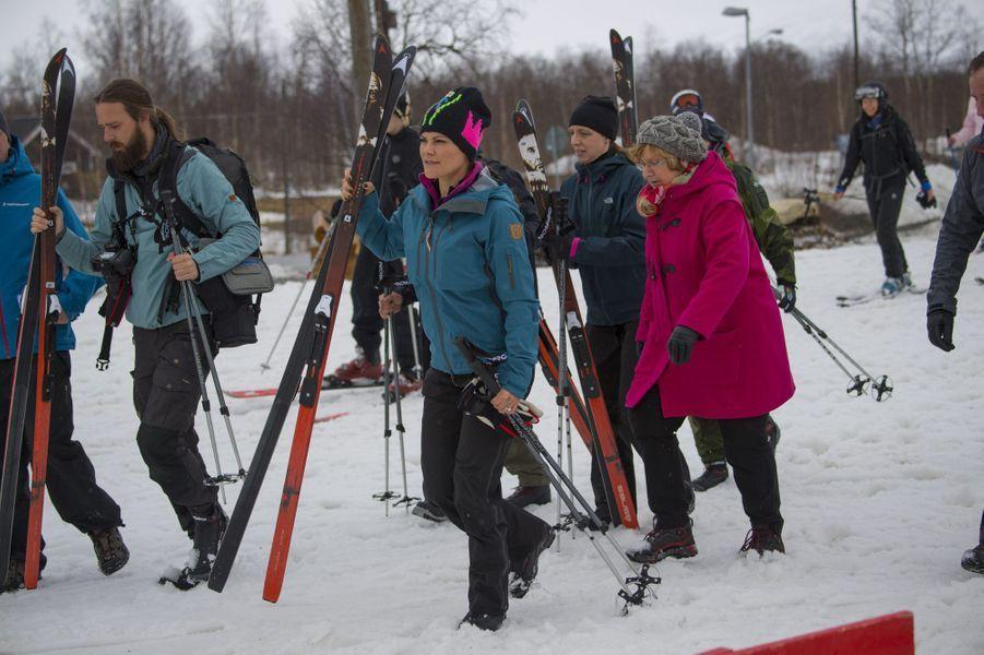 La princesse Victoria de Suède en Laponie suédoise, le 25 avril 2018