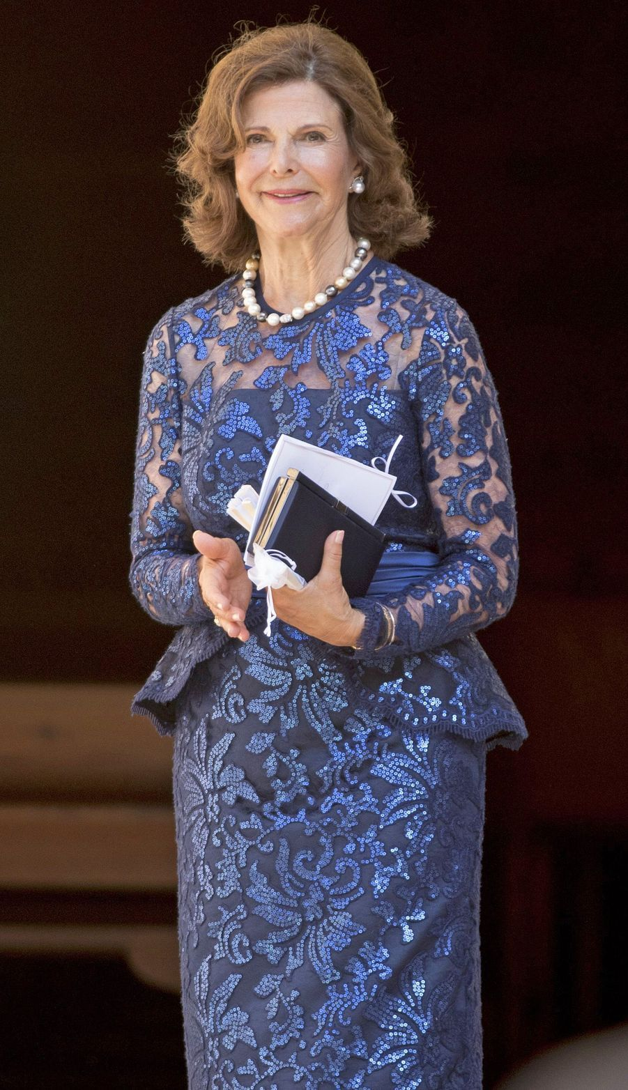 La reine Silvia de Suède au mariage de sa nièce Helena Sommerlath à Palma de Majorque, le 5 août 2017