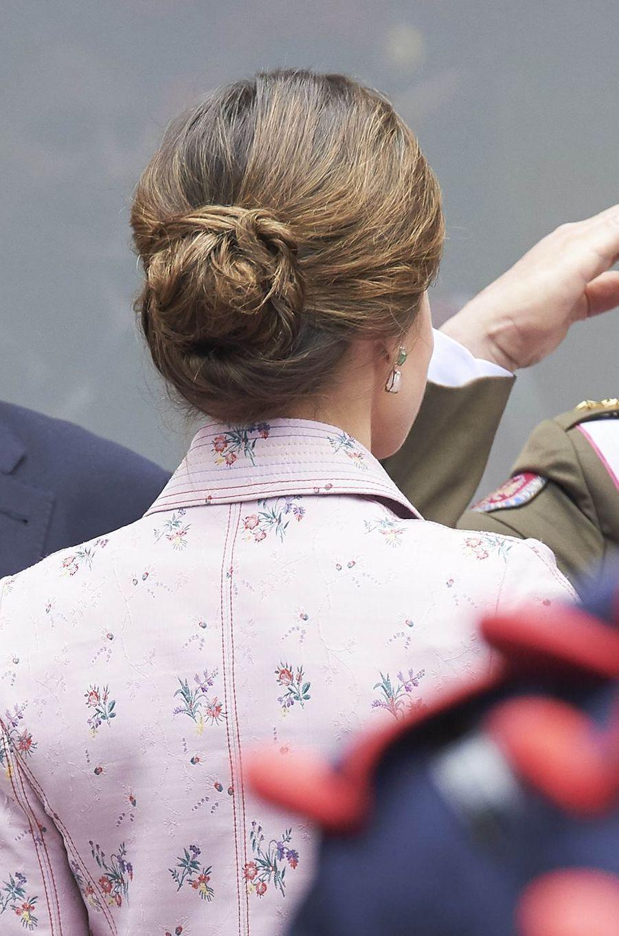 Le chignon de la reine Letizia d'Espagne à Logroño, le 25 mai 2018
