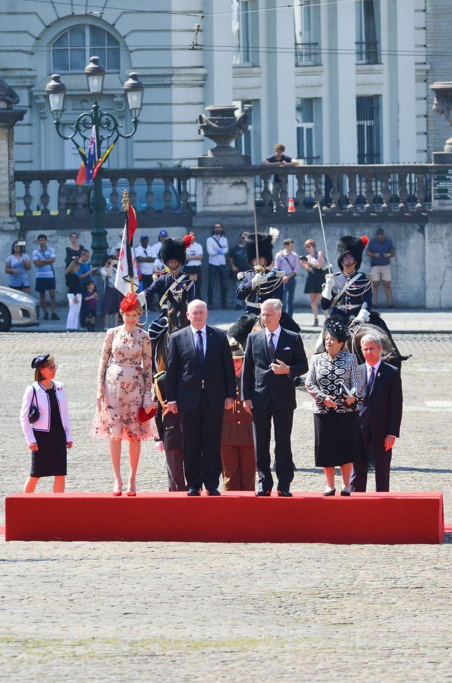 La reine Mathilde et le roi Philippe de Belgique avec le gouverneur général de l'Australie Peter Cosgrove et sa femme Lynn à Bruxelles, le 27 juin 2018