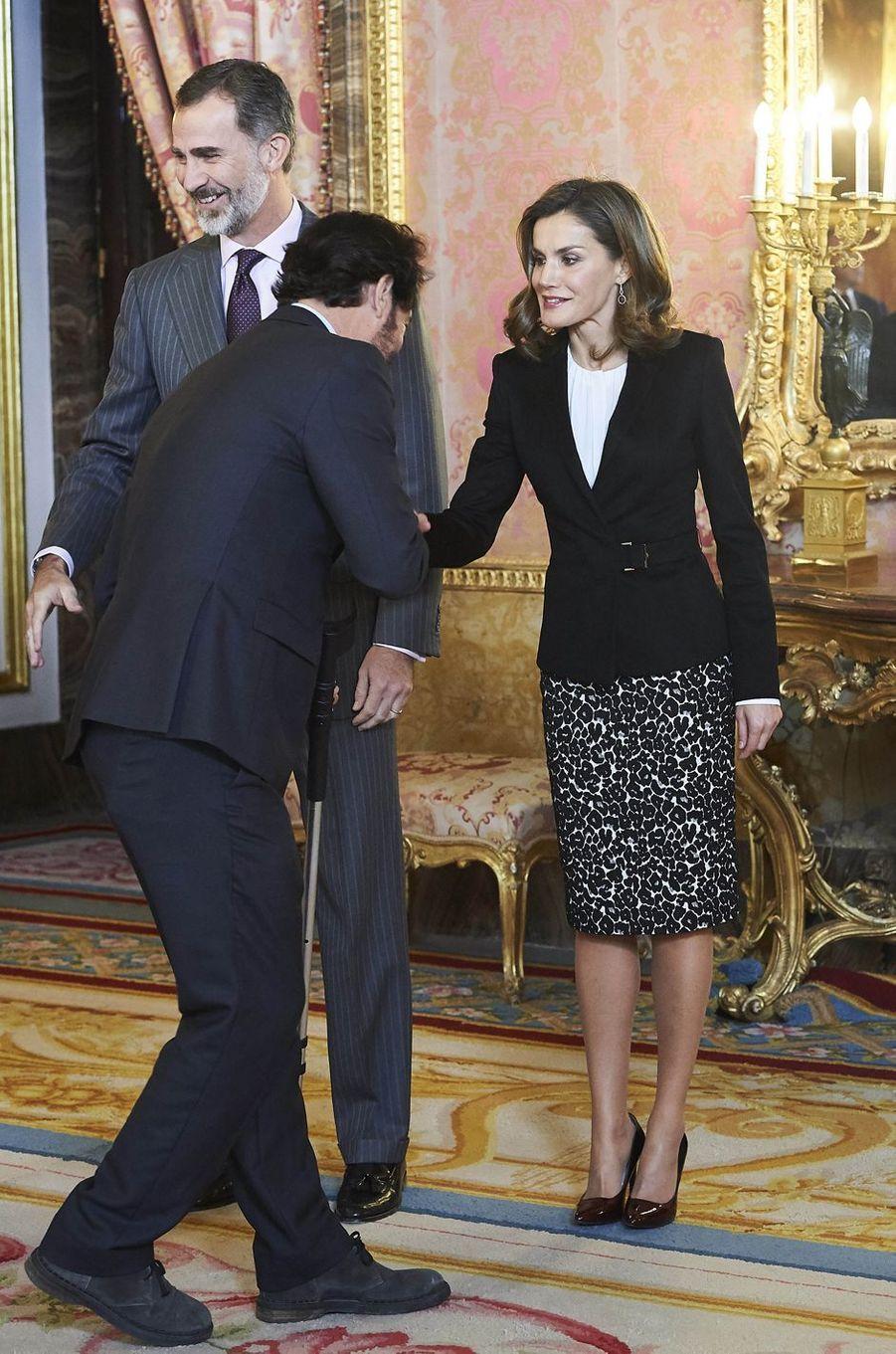La reine Letizia et le roi Felipe VI d'Espagne à Madrid, le 1er décembre 2017