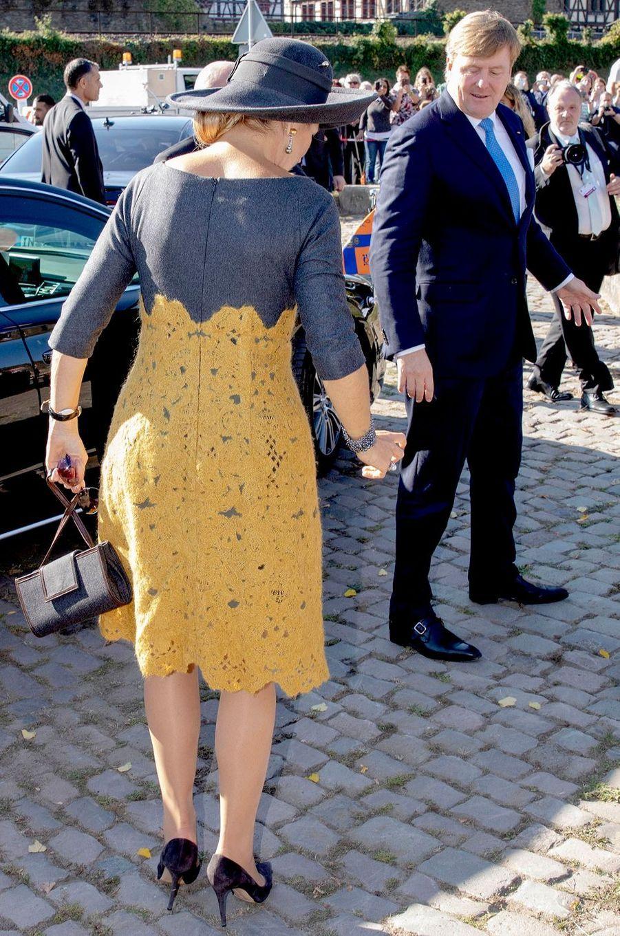 La reine Maxima des Pays-Bas, de dos, en Allemagne, le 10 octobre 2018