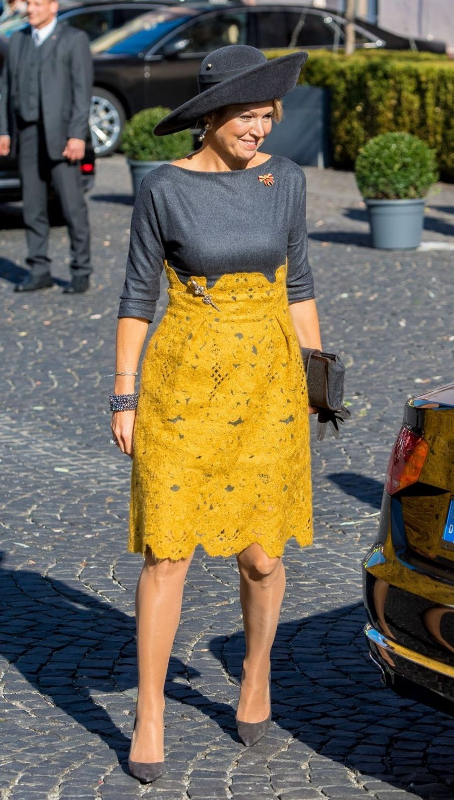 La reine Maxima des Pays-Bas, dans une robe Natan, en Allemagne le 10 octobre 2018