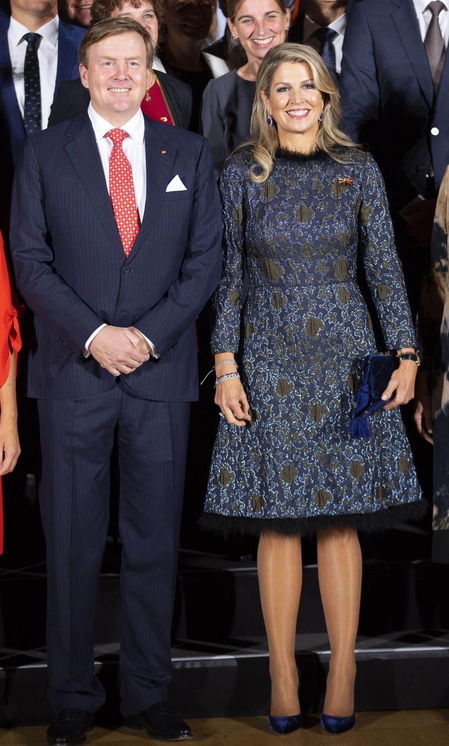 La reine Maxima des Pays-Bas, dans une robe Natan, en Allemagne le 10 octobre 2018 au soir