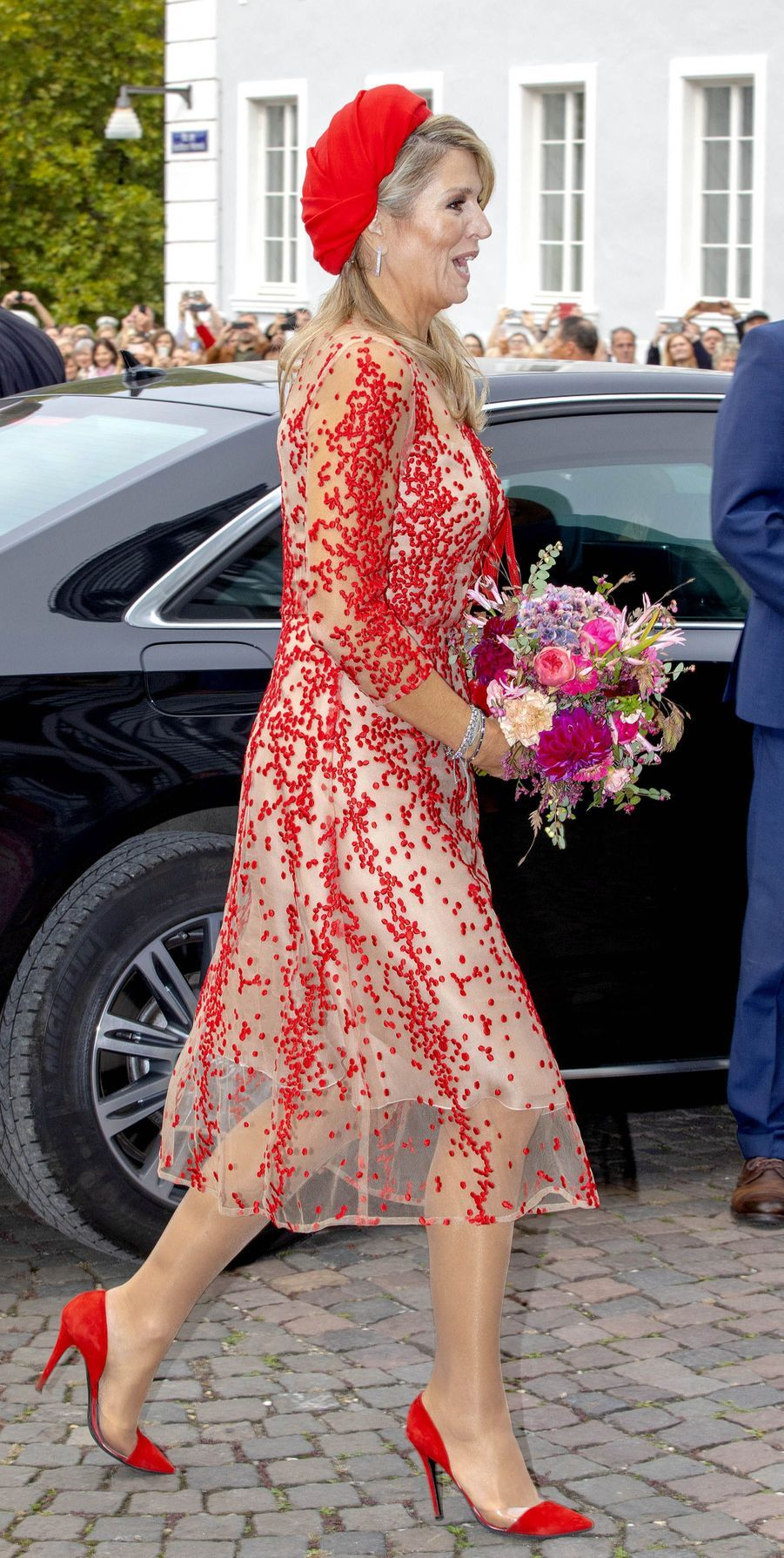 La reine Maxima des Pays-Bas, dans une robe Natan, en Allemagne le 11 octobre 2018