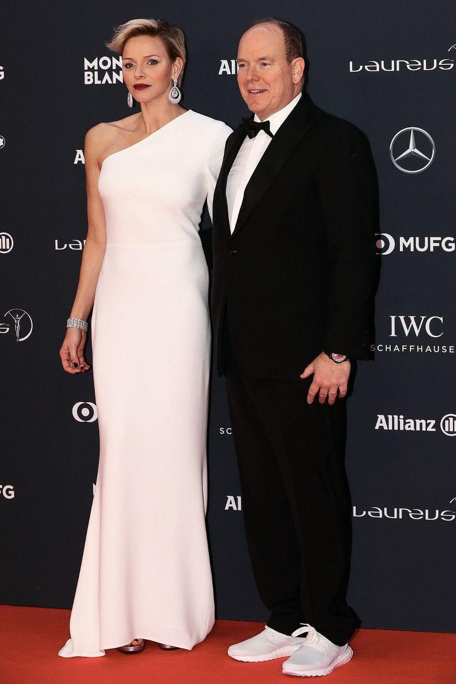 Charlène et Albert, à la remise des Laureus World Sports Awards, décernés chaque année à des sportifs. Au Sporting Monte-Carlo le 27 février.